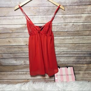 Victoria's Secret red lace slip dress